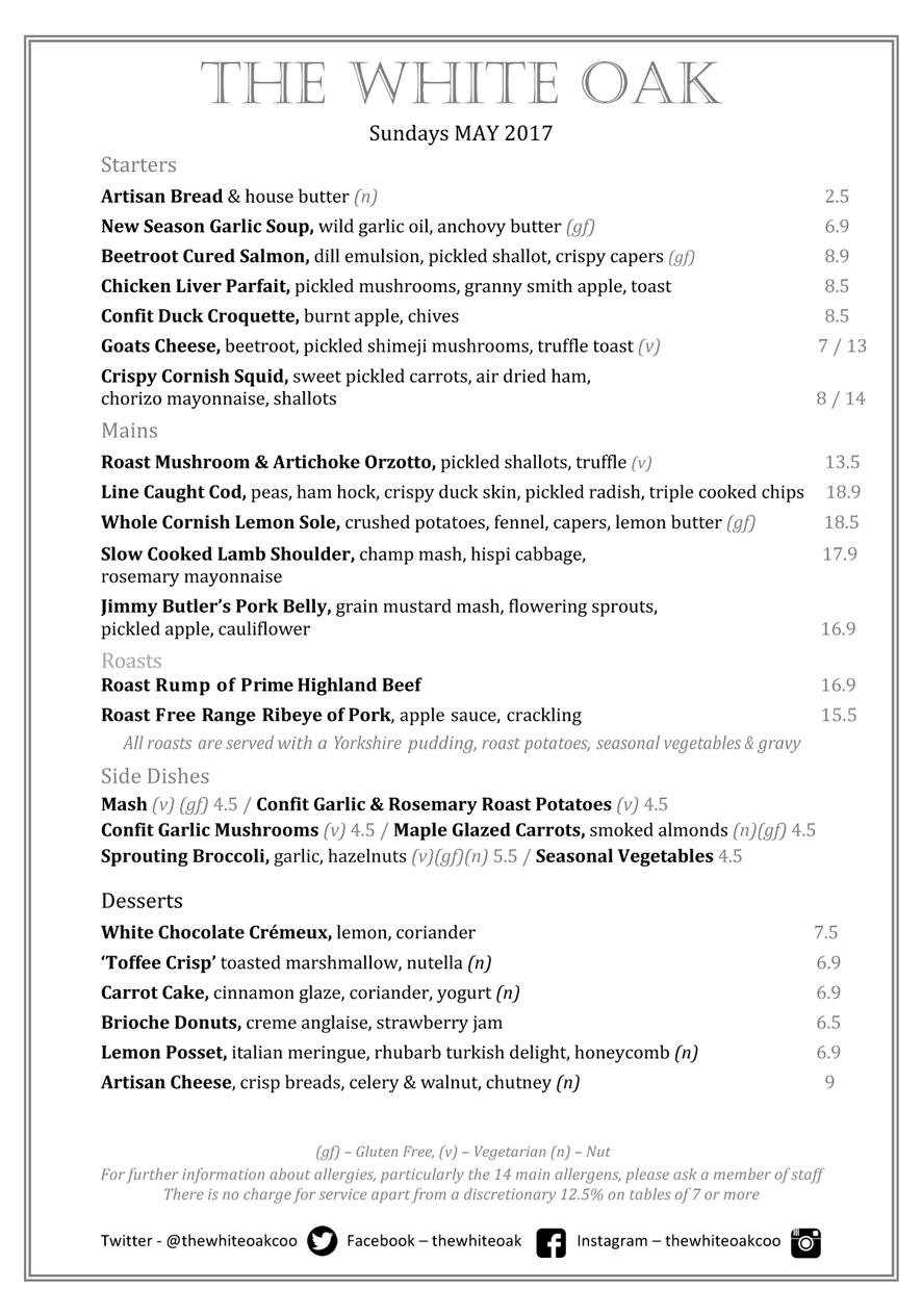 TWO Sunday Menu May 2017